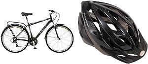 Schwinn Discover Men's Hybrid Bike (700C Wheels), Black with Schwinn Thrasher Adult Micro Bicycle black/grey Helmet Adult
