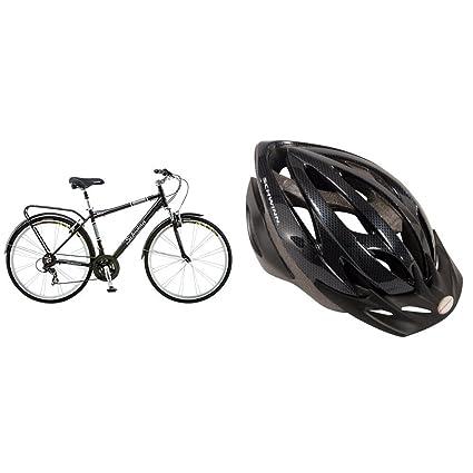 a57a4c96b72 Amazon.com : Schwinn Discover Men's Hybrid Bike (700C Wheels), Black with  Schwinn Thrasher Adult Micro Bicycle black/grey Helmet Adult : Sports &  Outdoors