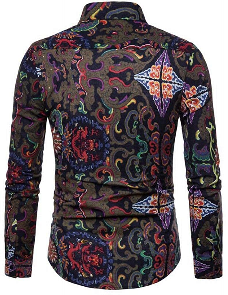 Mstyle Mens Casual Long Sleeve Floral Print Slim Fit Lapel Button Down Dress Shirts