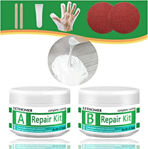Tub, Tile and Shower Repair Kit, Waterproof Porcelain Repair Kit, Tile and Tub Refinishing kit, Non-toxic and Odorless Fiberglass Repair Kit for Tubs, Toilet, Porcelain, Sink Crack (WHITE)