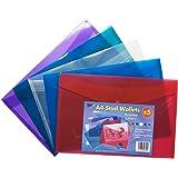 5 x Premium A4 Stud Press Wallets Coloured Plastic Document Popper File Folders