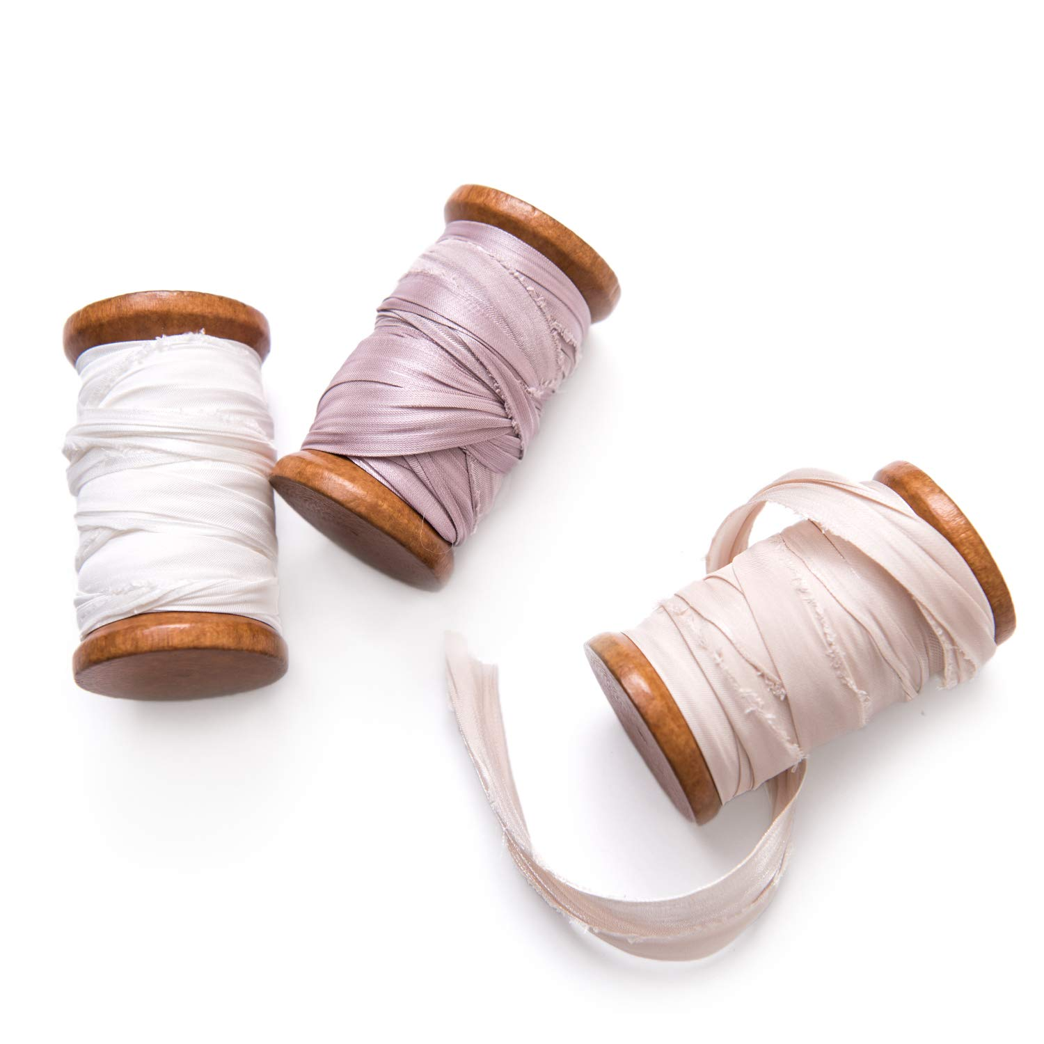 Ling's moment Handmade Raw Edge Sari Silk Ribbon with Spool Set of 3 Rolls Champagne/Light Mauve/White for Wedding Bouquets Invitations Flat Lay Photography Decor by Ling's moment