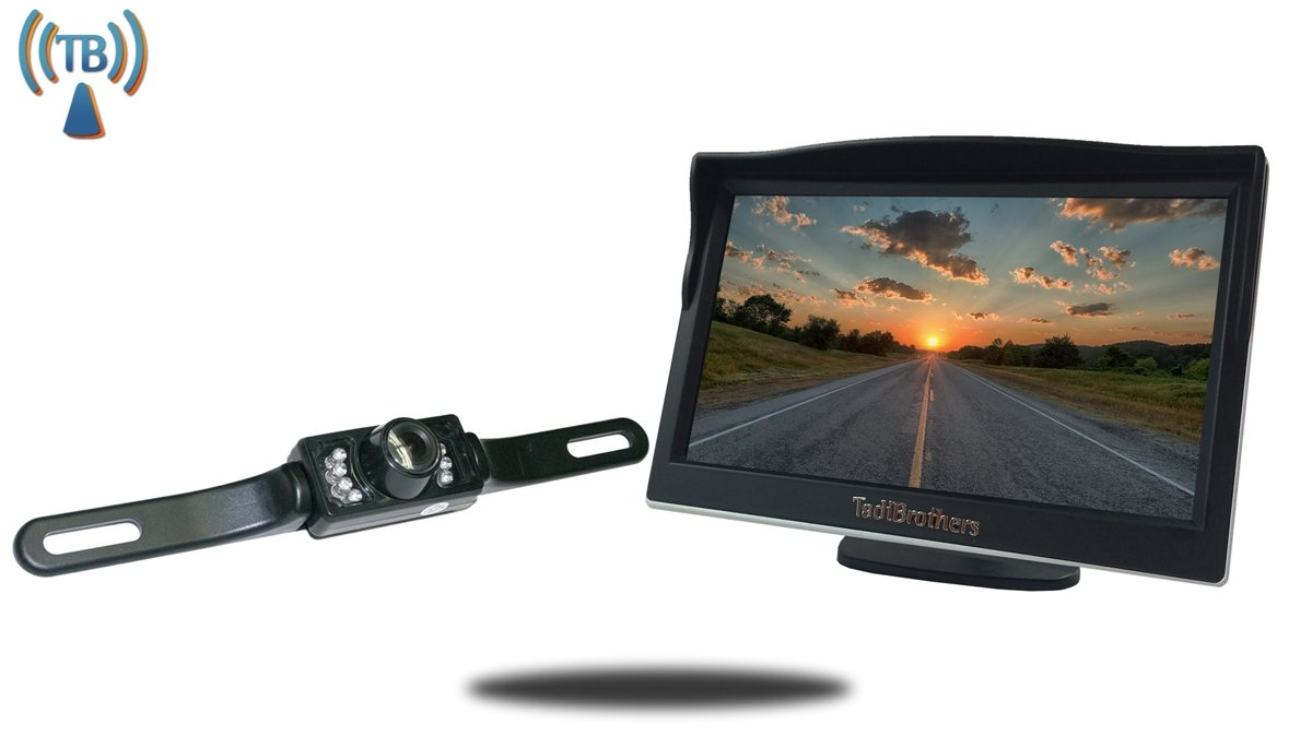Tadibrothers 5 Inch Monitor with Wireless License Plate Backup Camera