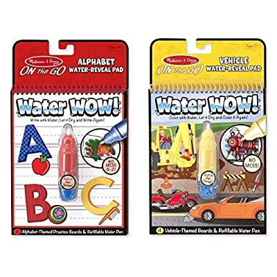 Melissa & Doug Water Wow Activity Book - Alphabet and Coloring Book - Vehicles Bundle: Toys & Games