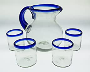 Mexican Glasses and Pitcher, Blue Rim 10 Oz (Set of 4 Glasses) Bola or Bowl Shape Pitcher