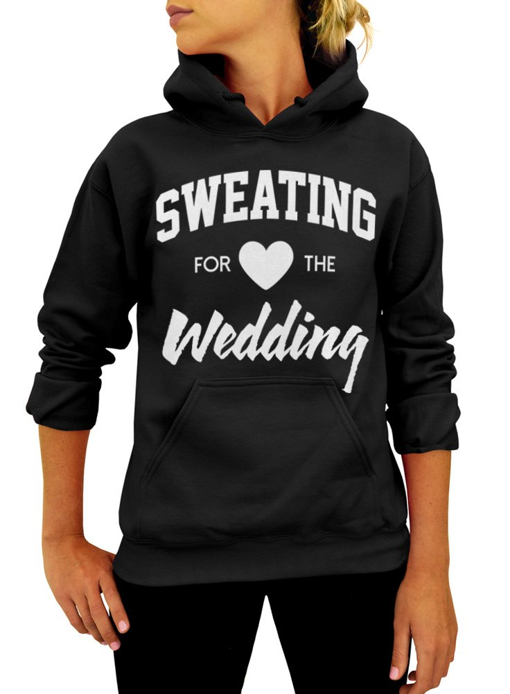 Sweating for the Wedding Unisex Pullover Hoodie - Medium Black White Ink