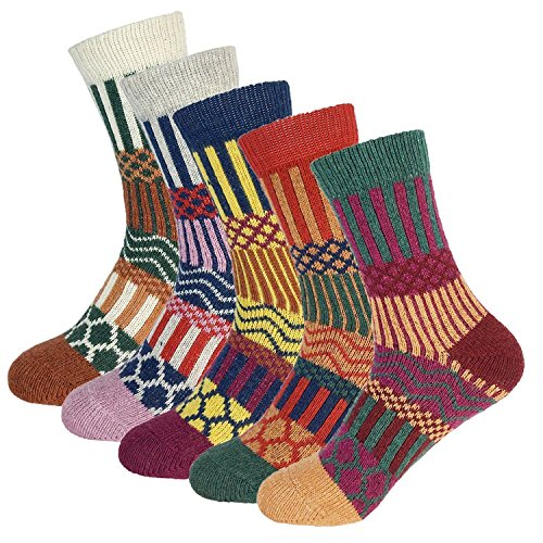 Warm Crew Wool Socks Womens Winter Hand Knit Thick Soft Thermal Girls Socks 5 Pairs