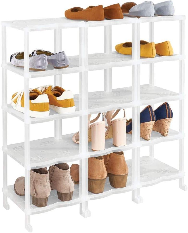 mDesign Plastic Shoe Rack Holder & Organizer - 15 Storage Shelf for Closet, Entryway, Mudroom, Garage, Kids Playroom - Easy Assembly - Closet Organization - Clear Frost