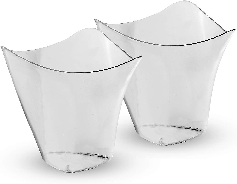 Mini Tazas De Postre De Plástico | Pequeñas Copas Desechables Desechables para Trifle y Jalea Platos de postre | Cuencos Cuadrados Puddings & Tasters | Pukkr