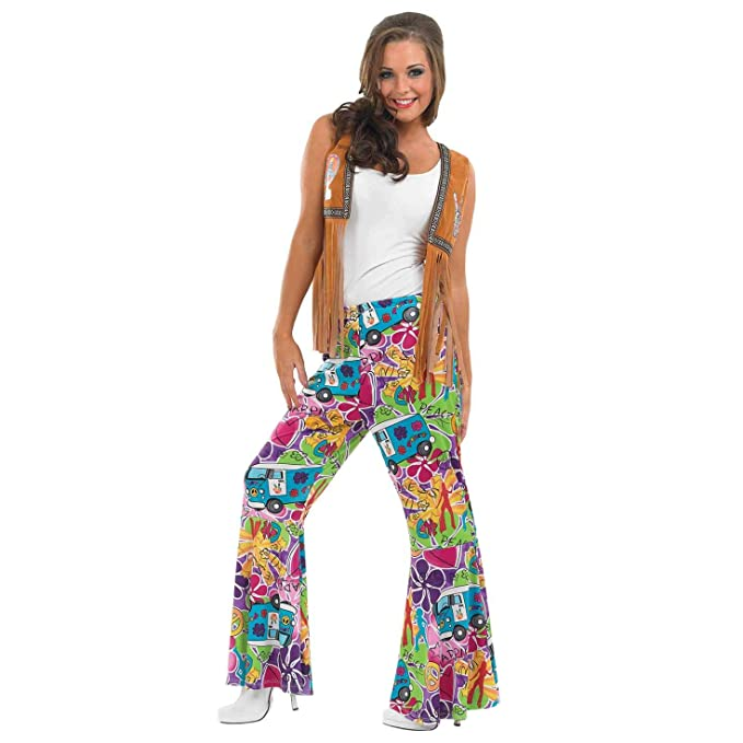 70s Costumes: Disco Costumes, Hippie Outfits fun shack Womens Hippie-Rainbow Swirl Flared Trousers $29.99 AT vintagedancer.com