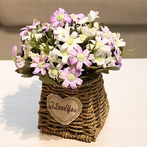 Emulation flower artificial flowers sunflower roses RATTAN VASE boutonniere blue packaged romantic garden floral 25×20cm, white first daisies
