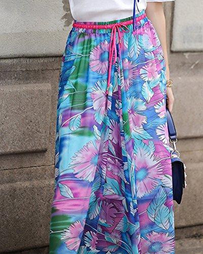 Taille Casual Grande Vacances t Plisse Bleu Jupe Taille Mousseline Jupes Imprim lastique vase Femme Jupe Boho Flexible Floral Plage xBCqnxOZ6