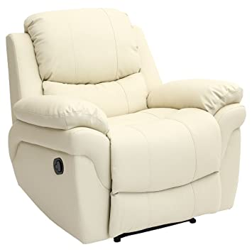 Beau MADISON LEATHER RECLINER ARMCHAIR SOFA HOME LOUNGE CHAIR RECLINING GAMING ( Cream)