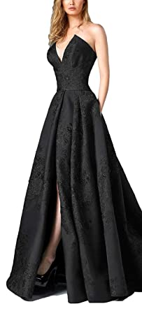 Yisha Bello Women s Long Satin V Neck Prom Dress A-line Strapless Formal  Gowns with a36cac9e7