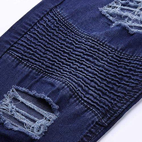 Hip Aderenti Sportivi Pantaloni Freddi Casual Moda Da Jeans hop Blu Uomo Yunyoud Sfilacciati Elasticizzati Alla Jeans OXnPHX