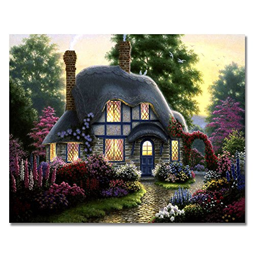 Rihe Paint by Numbers Kits Diy Oil Painting for Adults Kids Beginner - My Dream House 16 x 20 inch with Brushes and Acrylic Pigment (Without Frame)