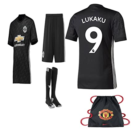 low priced bbcb6 fd160 Manchester United NB Paul Pogba Lukuka 2017 2018 17 18 Kid Youth REPLICA  Home, Away Jersey Kit : Shirt, Short, Socks, Bag