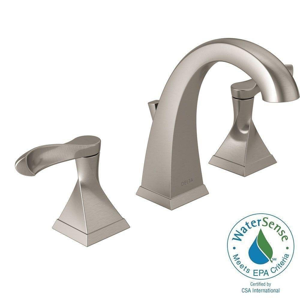 Delta Everly 8 In. Widespread 2 Handle Bathroom Faucet With Metal Drain  Assembly In SpotShield Brushed Nickel     Amazon.com