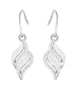 1 pair Women Silver Small Earring Wavy Leaf Shaped Stud Earrings Fashion Earrings