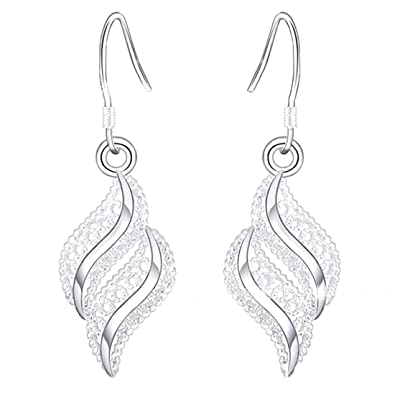 1pair Women Silver Small Earring Waved Leaf Shaped Stud Earrings Lovely Earrings 56cRpVLFD