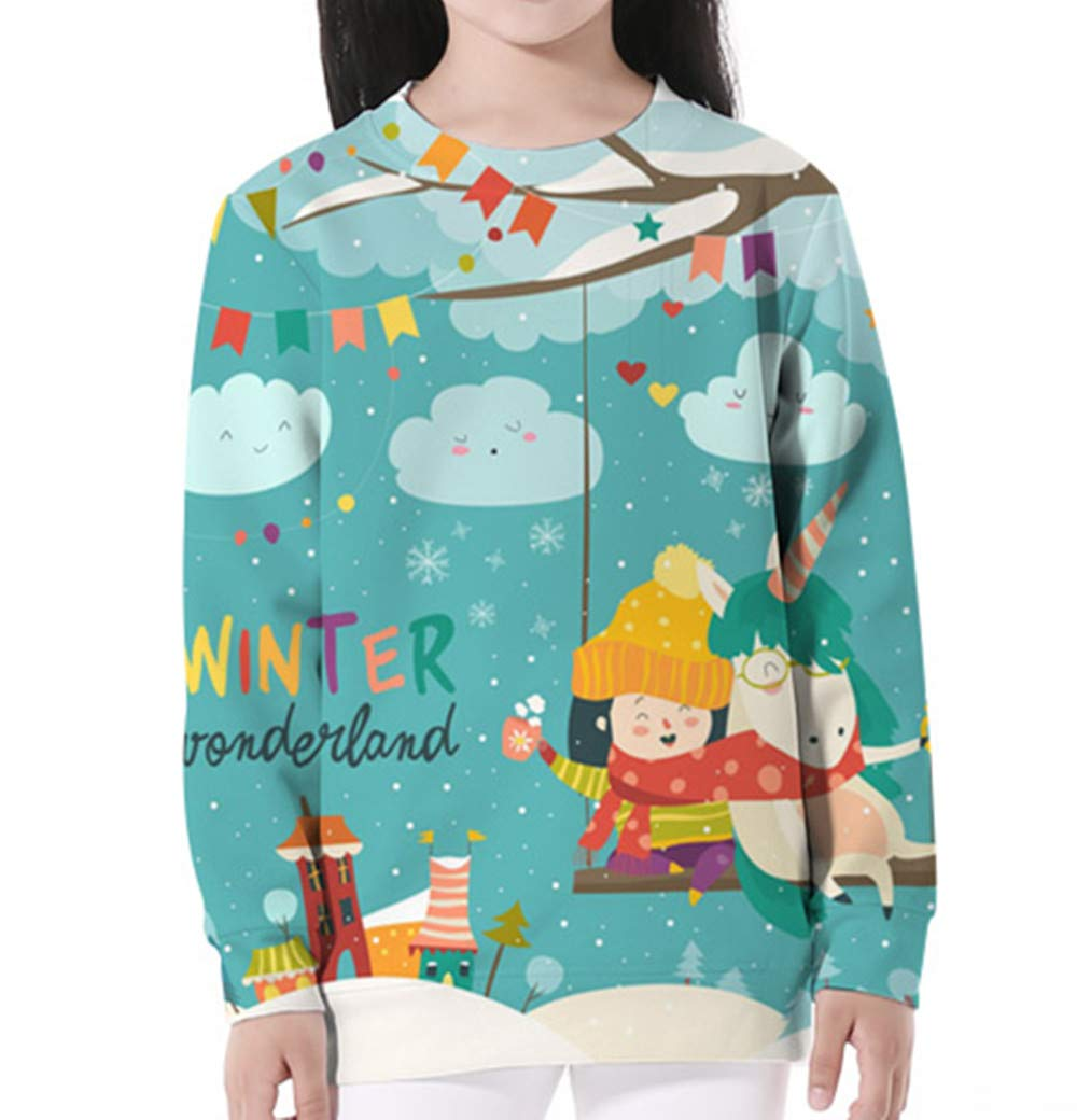 KIDVOVOU Kids Unicorn Gift Hoodie Pullover Unicorn Sweatshirt Girls,5-6years,Winter Festival by KIDVOVOU (Image #2)