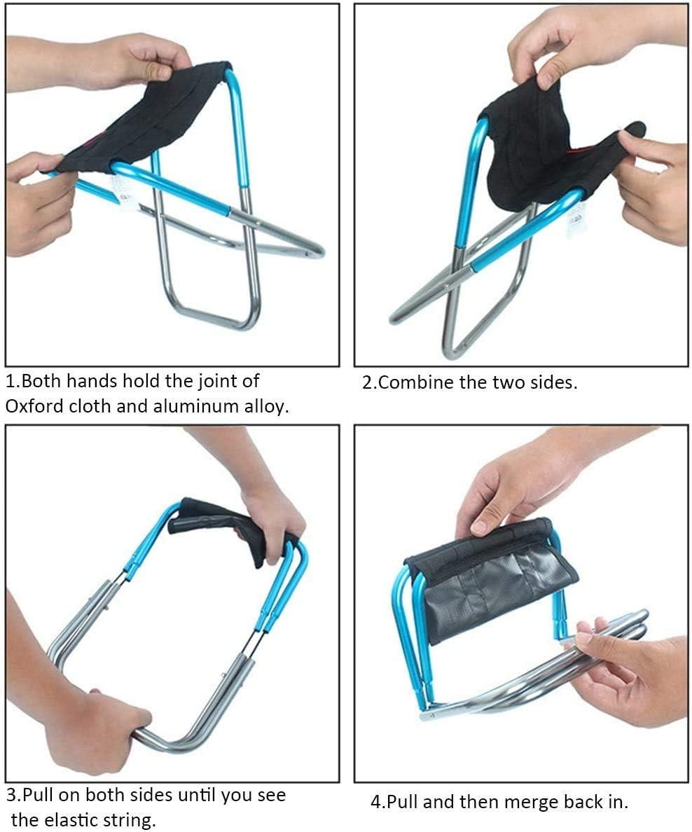 TYT Chaise Pliante Tabouret Portable Camping Tabouret de Train de Pêche En Plein Air Chaise de Camp,Bleu Rouge