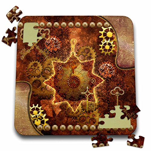 3dRose Heike Köhnen Design Steampunk – Steampunk, noble design with gears – 10×10 Inch Puzzle (pzl_256383_2)