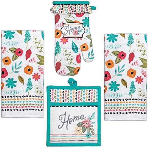 (Kay Dee 4 Piece Kitchen Set - 2 Terry Towels, Oven Mitt, Potholder (Home Confort) )