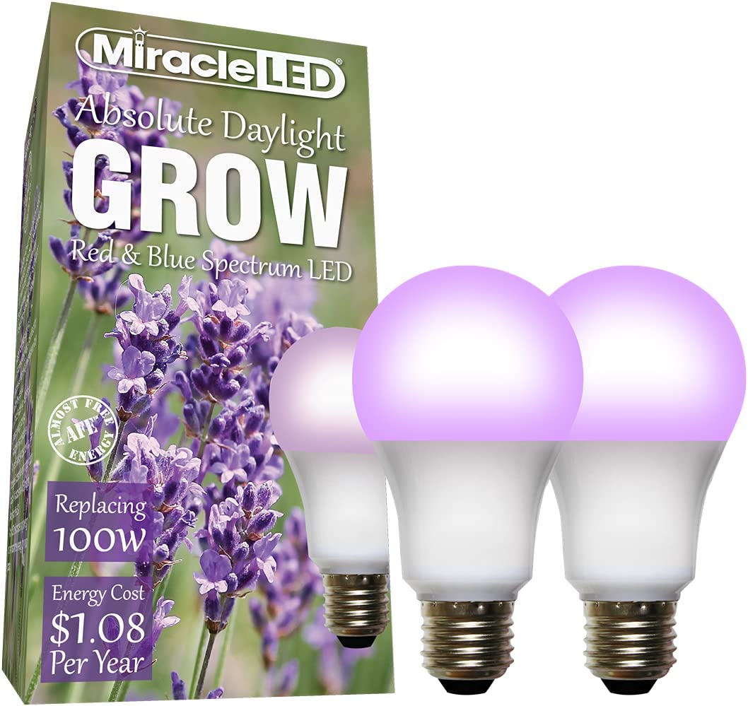 Miracle LED Absolute Daylight Almost Free Energy LED Grow Light Bulb Red & Blue Spectrum Hi-Yield Production, Replacing 100W (2-Pack)