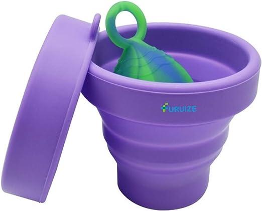 Taza de Esterilización Plegable Furuize. Esterilizador de Copas Menstruales. Silicona de Grado Médico 100%. Color Violeta