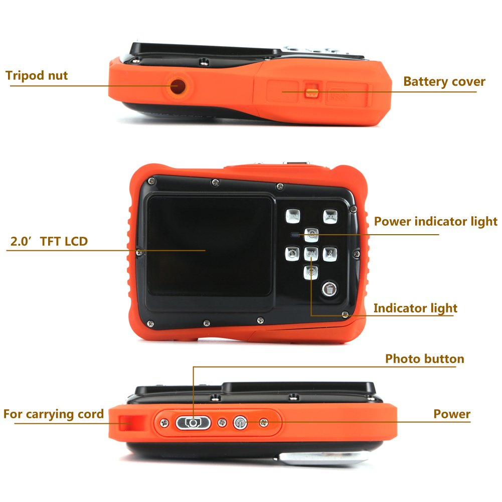 Kids Digital Camera - Waterproof to 3 Meters - HD Video Recorder and 5 Mega Pixels - Shockproof Childrens Camera (Orange) by BAVISION (Image #6)