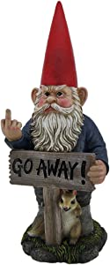 DWK Take A Hike Go Away Garden Gnome Un-Welcome Garden Statue