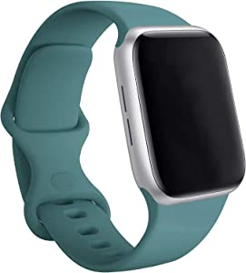 Compatible with Apple Watch Band 38mm 40mm 42mm 44mm, Soft Silicone Bands Replacement for iWatch Series 6, Series 5, Series 4, Series 3, Series 2, Series 1, Series SE(Cactus Green, 42mm/44ml ML)