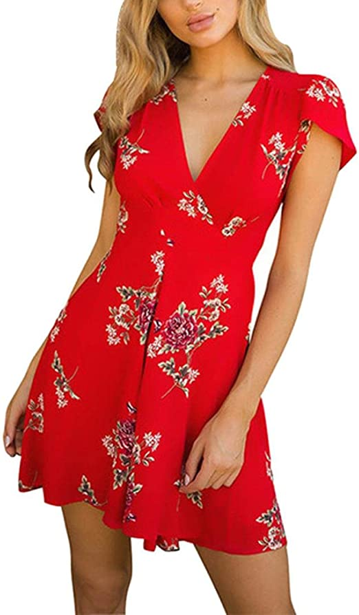 Womens Summer Bohemian Beach Floral Print Off Shoulder Sleeveless Hollow Out Mini Short Dress Casual Loose Sundress