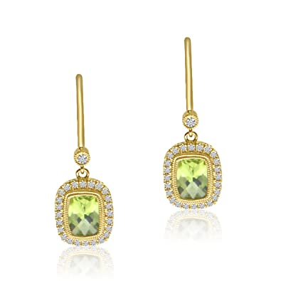 8d0427ce8bca9d Image Unavailable. Image not available for. Color: 14K Yellow Gold Halo  Cushion Peridot and Diamond Leverback Earrings