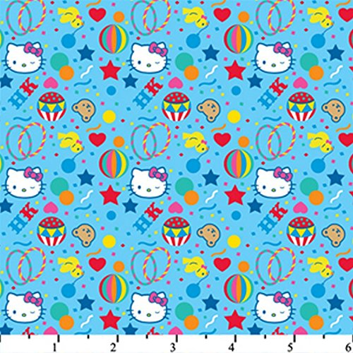 Hello Kitty Big Top Confetti Blue HK-31 100% Cotton Fabric Quilt Prints 44/45