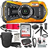 Ricoh WG-50 Waterproof/Shockproof Point and Shoot Digital Camera (Orange) with 64GB, Floating Strap, Tripod, and Deluxe Accessory Bundle