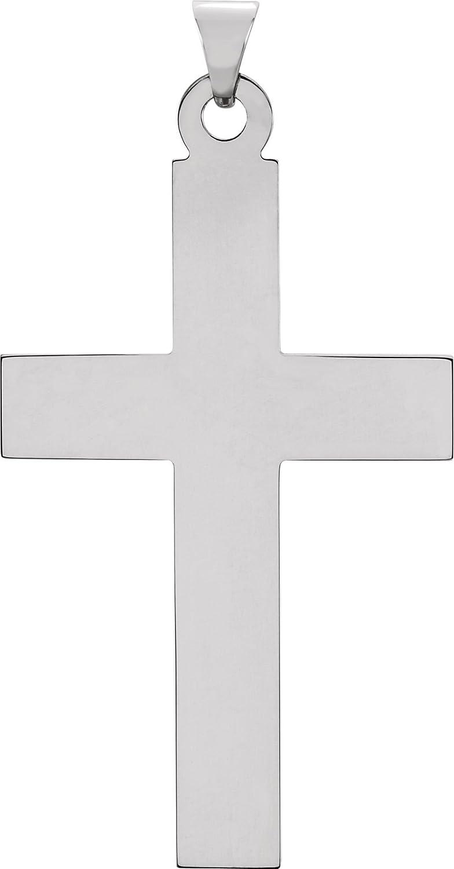Latin Cross Rhodium-Plated 14k White Gold Pendant 31X18MM