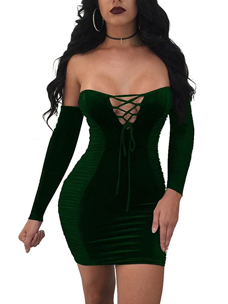 Darkgreen TOB Women's Sexy Velvet Ruched Lace Up Off Shoulder Party Club Mini Dress