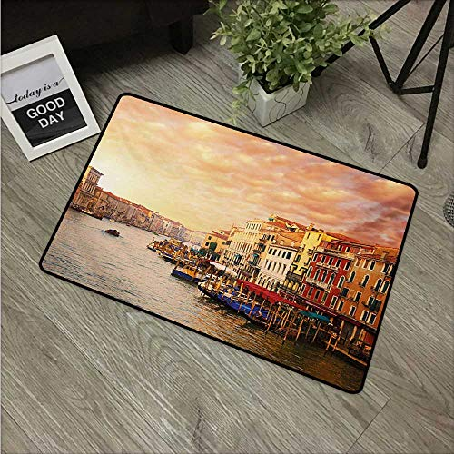 (HRoomDecor Scenery,Printed Floor Mats Venezia City Italian Landscape with Old Ancient Houses Gondollas and Spikes Image W 20