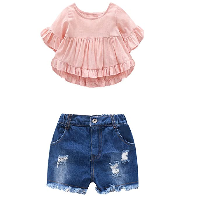 Amazon.com: Niños niñas trajes de verano Flare Vestido de ...