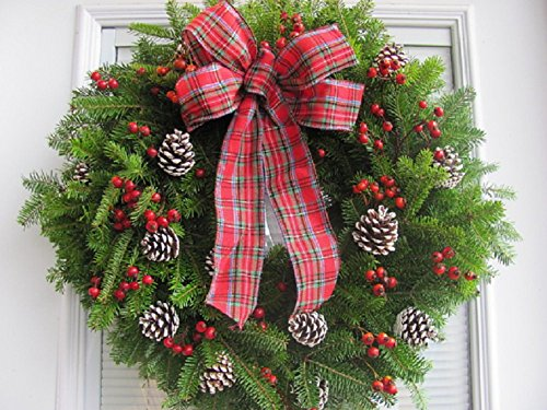 Fresh Christmas Wreath Balsam and Red Berry with Plaid Bow from Maine Live Holiday Door - Wreath Fresh Balsam