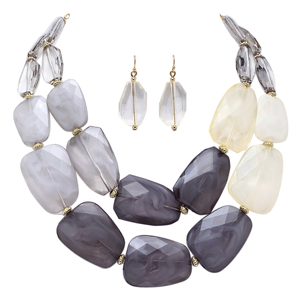 Rosemarie Collections Women's Ombre Polished Resin Statement Necklace Earring Set (Gray and White)