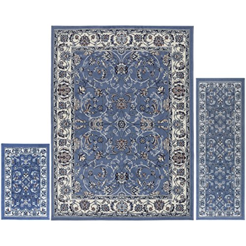 Home Dynamix Ariana Three-Piece Rug Set HD812-327, Blue- Ivory| Complete The Look in Any Room | Area Rug, Runner, One Scatter Mat | Easy to Clean and Care for | ()