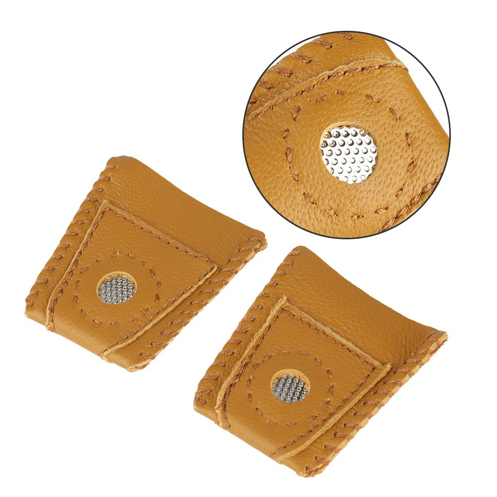 Delaman Thimble Finger Sets with Metal Tip Hand Needlework Accessory 2pcs Large Size Leather Finger Protector Thumb