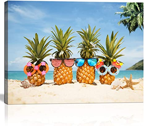 Amazon Com Beach Wall Art For Kitchen Living Room Bedroom Decor Blue Ocean With Tropical Plants Funny Pineapple With Sunglasses Modern Canvas Print Framed Gift For Teen Kids Room Decor Posters Prints