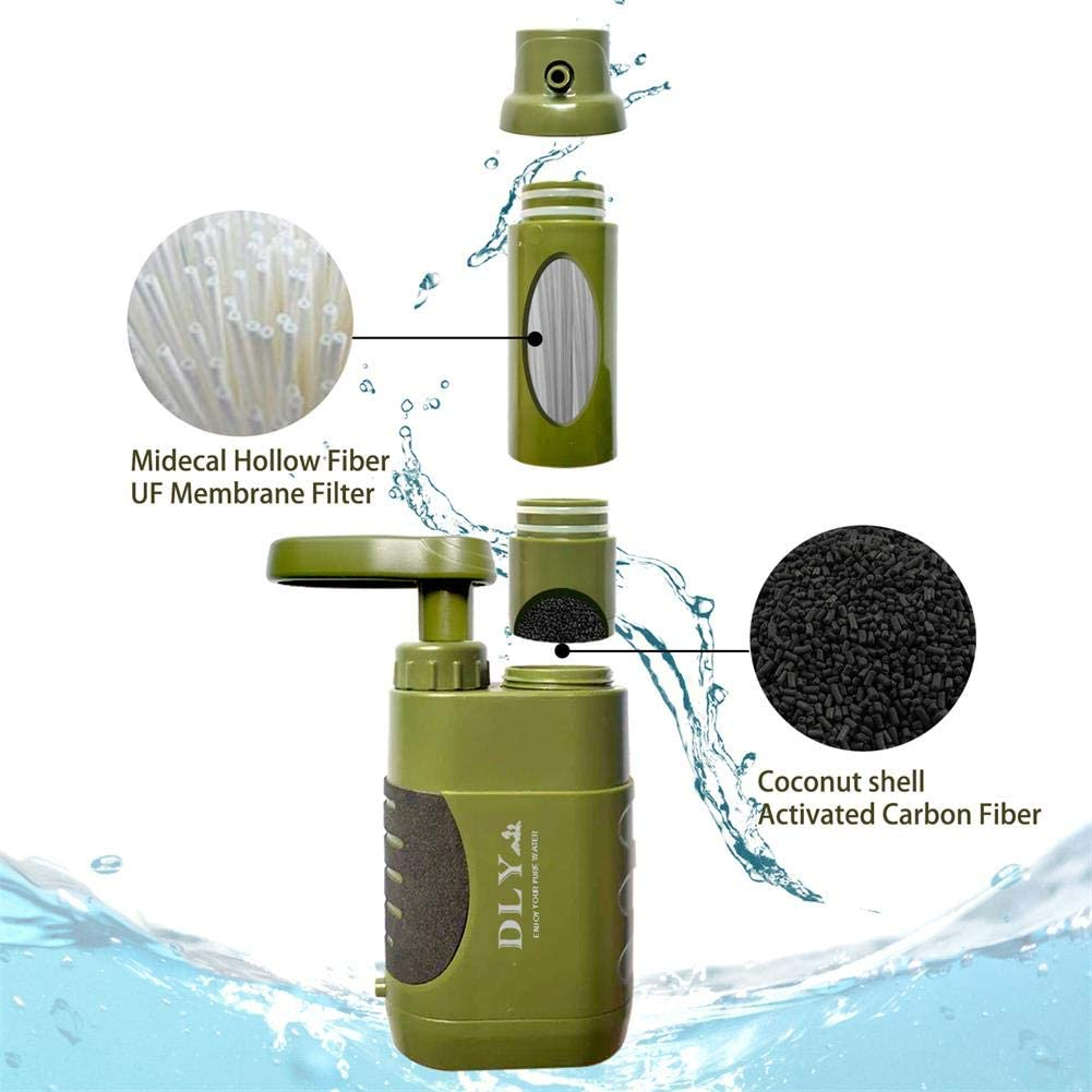 DLY Water Filter Pump Water Purifier for Camping, Hiking - 0.01 Micron Emergency Backpacking Water Filter for Hiking with 4-Stage Filter Pump : Sports & Outdoors