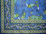Paisley Print Tapestry Cotton Bedspread 90'' x 87'' Full Blue