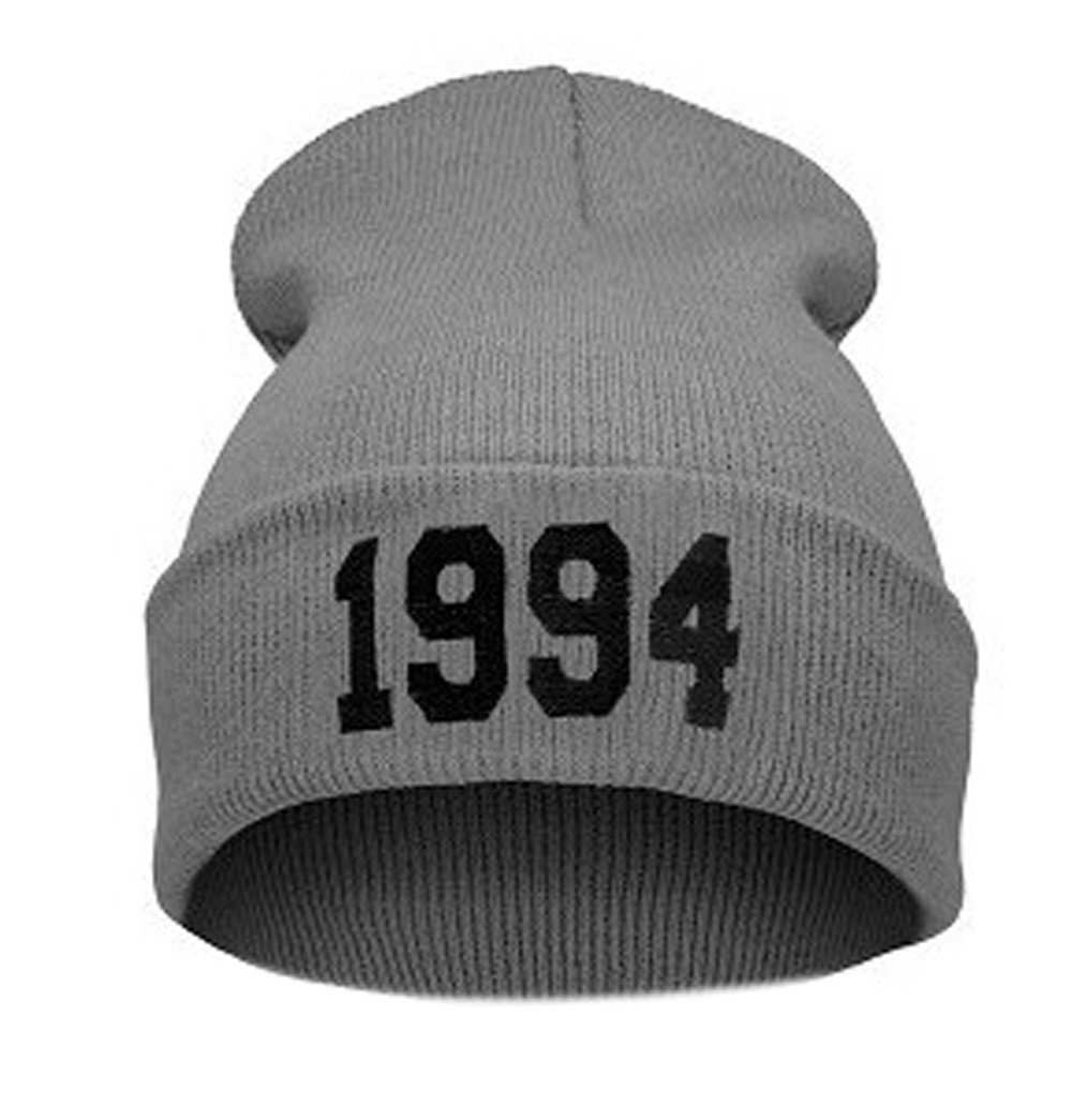 1994 Letter Printed Baggy Wool Knitted Ski Beanie Caps Winter Warm Slouchy Skull Hat (Gray)