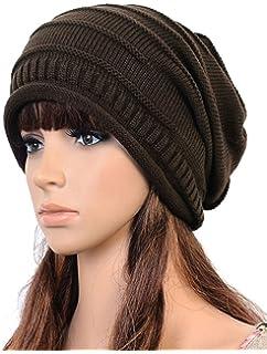 Amazon.com  Unisex Winter Plicate Baggy Beanie Knit Crochet Ski Hat ... e7eb09ff284f